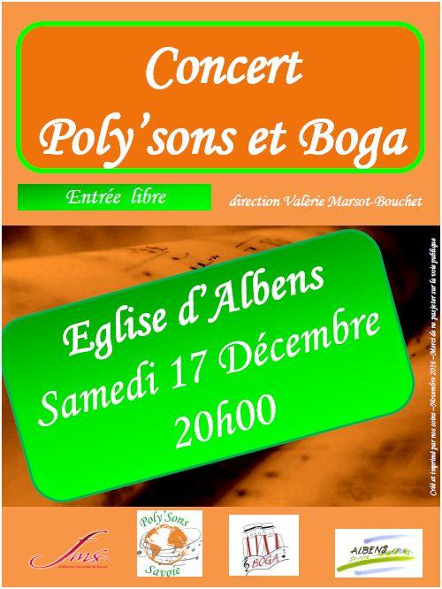 Concert fin d'année Poly'sons + Boga - Décembre 2016