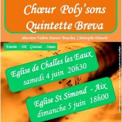 Concert Poly'sons + Quintette Breva - Challes les Eaux et Aix les Bains - Juin 2016