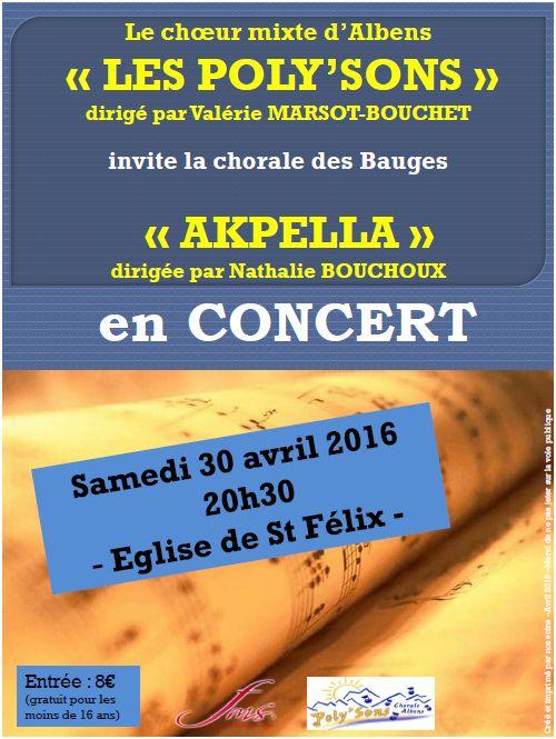Concert Poly'sons + AK'PELLA - St Félix - Avril 2016