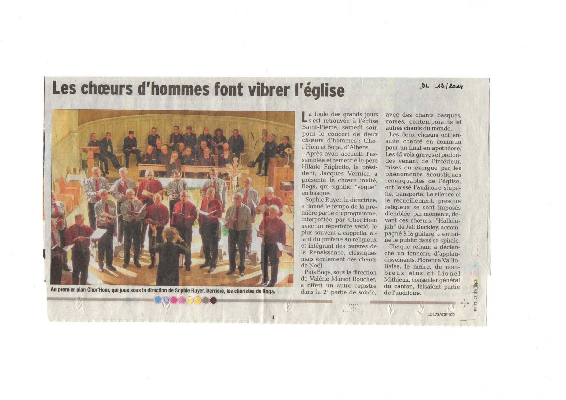 Article Dauphiné Libéré dec 2014 Boga concert Cognin