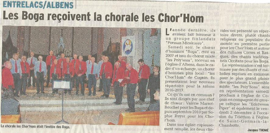 Article Dauphiné Libéré 12.11.2016