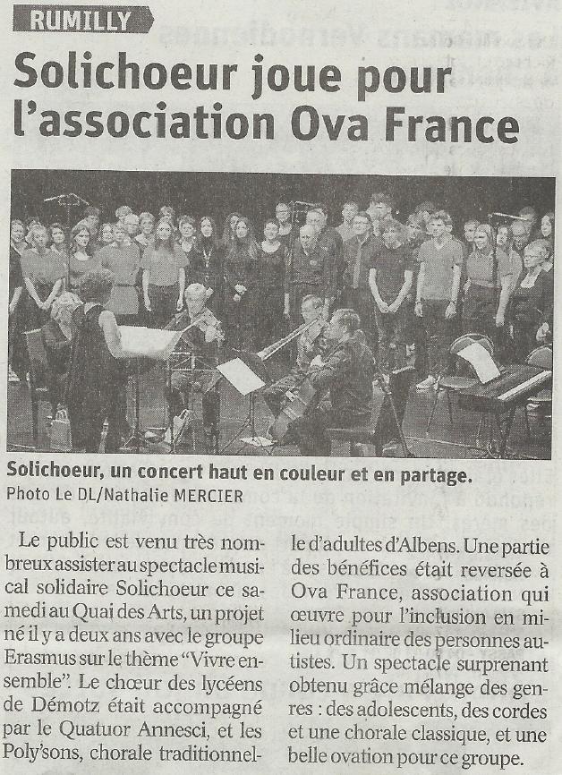 Article Dauphiné Libéré Concert Poly'Sons au quai des arts