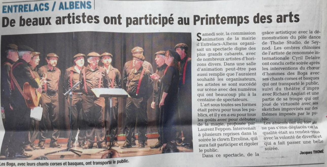 Article Dauphiné Libéré 23.04.18